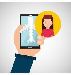 girl brunette hand holds mobile application travel vector image