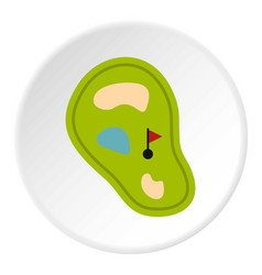 golf course map with pond icon circle vector image