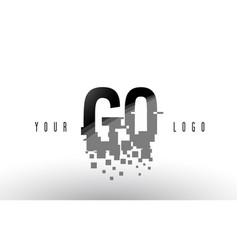 gq g q pixel letter logo with digital shattered vector image