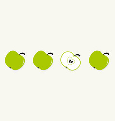 green apple set line in a row whole and half with vector image