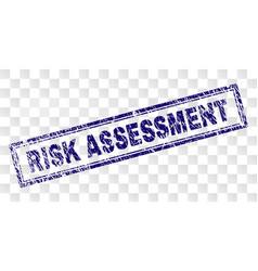 Grunge risk assessment rectangle stamp vector