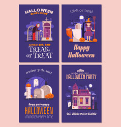 Halloween invitations and flyers set vector