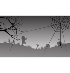 Halloween silhouette of spider and scary zombie vector