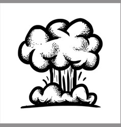 Hand drawn sketch of a large nuclear explosion vector