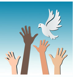 hands with pigeon vector image