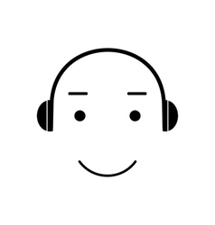 Icon smiley listening to music vector image