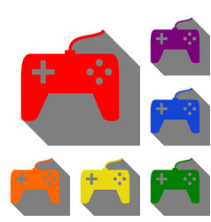 joystick simple sign set of red orange yellow vector image