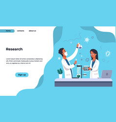 lab research landing page pharmaceutical and vector image
