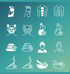 line and outline massage and relaxing icons vector image