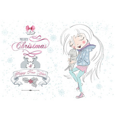 Little girl Christmas cat vector image
