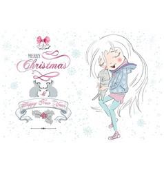 Little girl Christmas cat vector