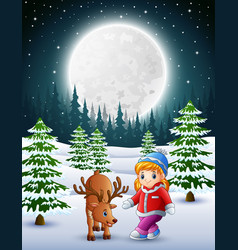 little girl playing with a deer in the snowy garde vector image