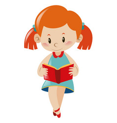 Little girl reading book vector