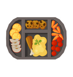Meal tray filled with mashed potato chicken vector