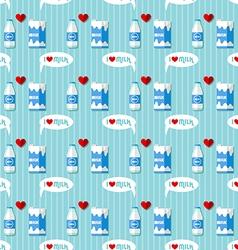 milk bottle and milk carton seamless pattern vector image