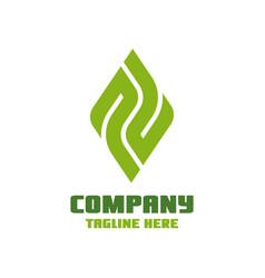 Modern leaf and letter p logo vector