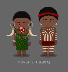 mursi people in traditional costume vector image