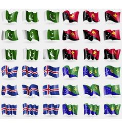 Pakistan Papua New Guinea Iceland Christmas Island vector