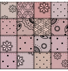 Patchwork of lace fabric vector