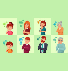 people solving problem or thinking serious vector image