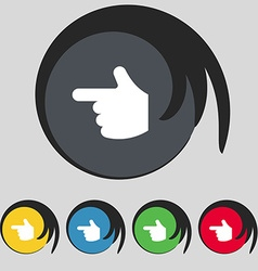 pointing hand icon sign Symbol on five colored vector image