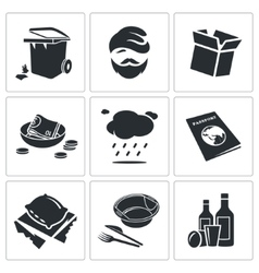 Poverty and homelessness Icons Set vector