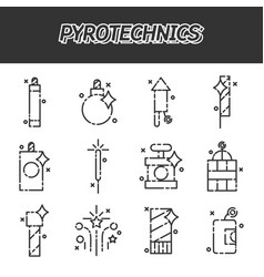 Pyrotechnics flat icons set vector