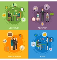 Recruitment HR People 2x2 Icons Set vector image