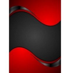 Red black contrast wavy background vector