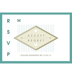RSVP Wedding card green ribbon theme vector image