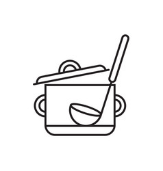 Saucepan with ladle vector