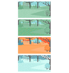 set spring summer autumn and winter landscapes vector image