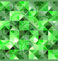 Shamrock geometric pattern green emerald clover vector