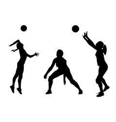 silhouettes of girls classic volleyball vector image