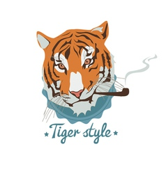 Smoking tiger portret vector