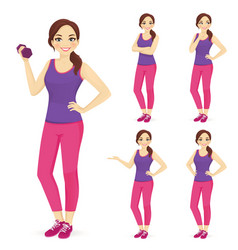 Sport woman set vector