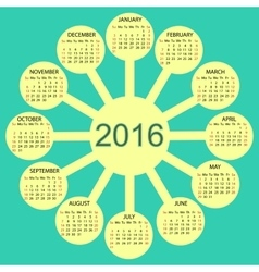 Sunny circles calendar 2016 new year vector