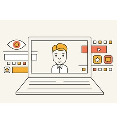 System for managing interactions with customers vector image