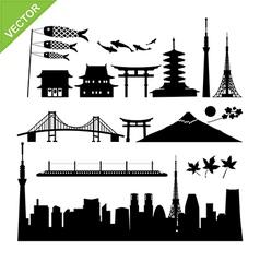 Tokyo Japan landmark silhouettes vector