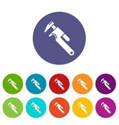 universal spanner icons set color vector image