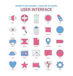 user interface icon dusky flat color - vintage 25 vector image