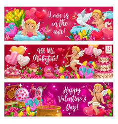 Valentines day lettering cupids symbols love vector