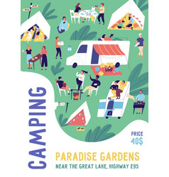 Vertical poster template for camping festival vector