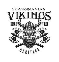 viking skull and crossed axes emblem vector image