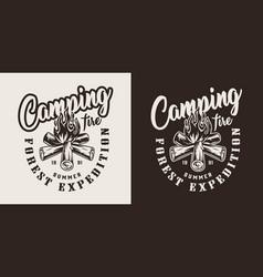 vintage forest camping badge vector image