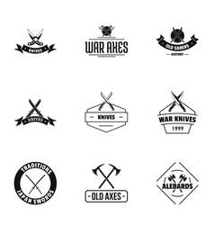War arena logo set simple style vector