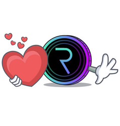 With heart request network coin mascot cartoon vector