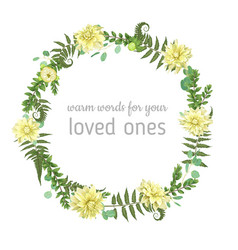 wreath with herbs and leaves isolated on white vector image