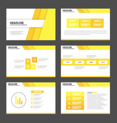 Yellow tone presentation templates Infographic set vector