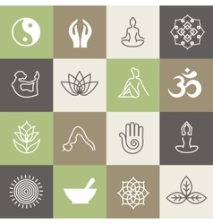 Yoga symbols and poses for pilates studio or zen vector